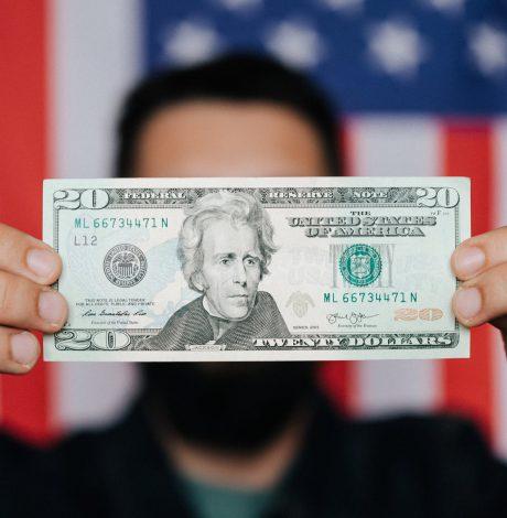 person holding twenty dollar bill